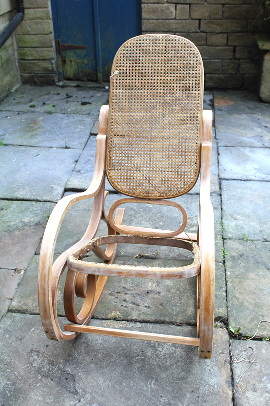 how to renovate a cane rocking chair