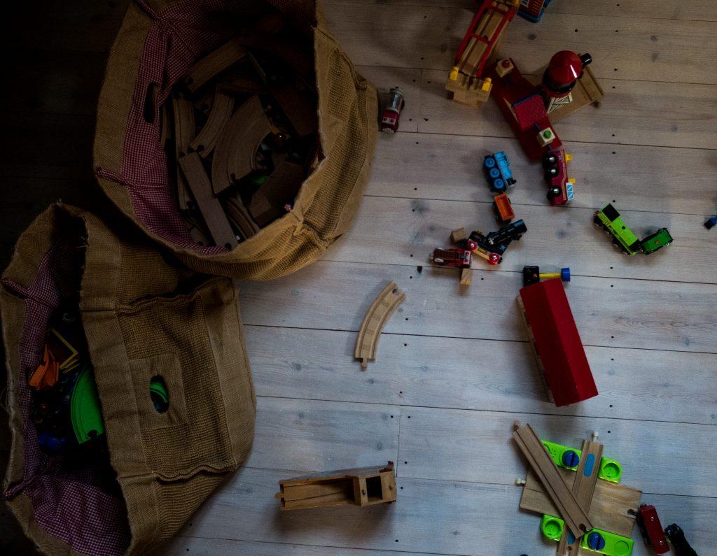 wooden train set on the floor