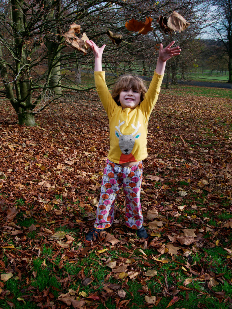 autumn day throwing leaves in the air