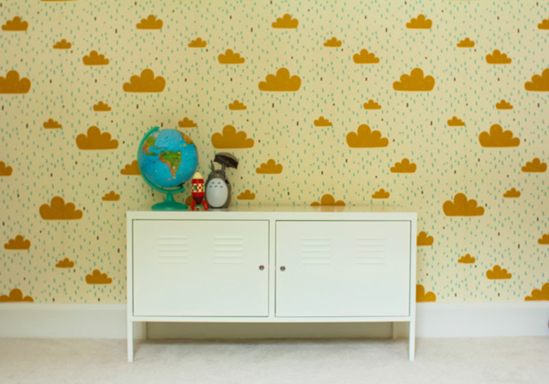 cloud wallpaper in bedroom from Spoonflower interior design