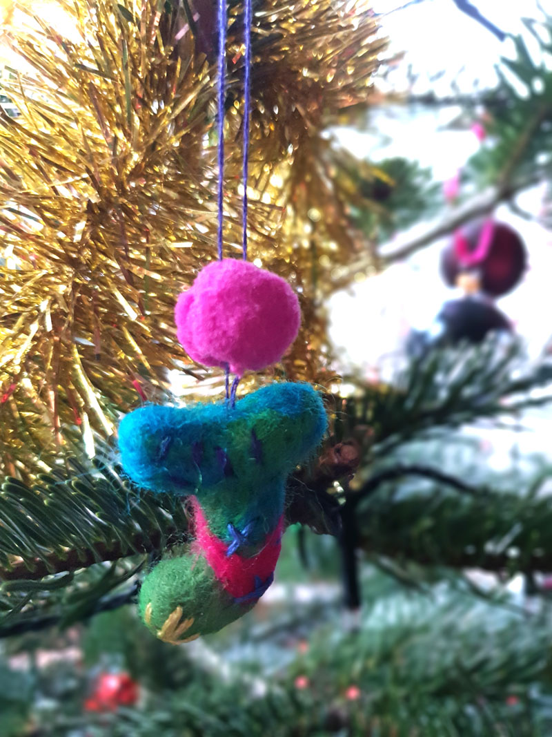 felt christmas ornament with embroidery