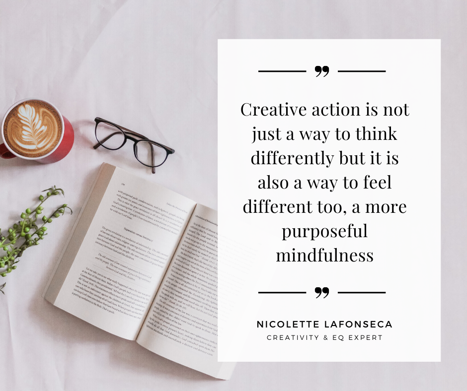 flatlay and a quote regarding the importance of creativity