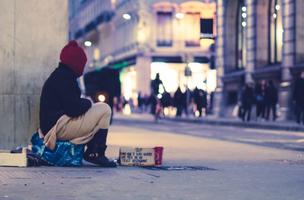 a person forced into sleeping rough due to mental illness