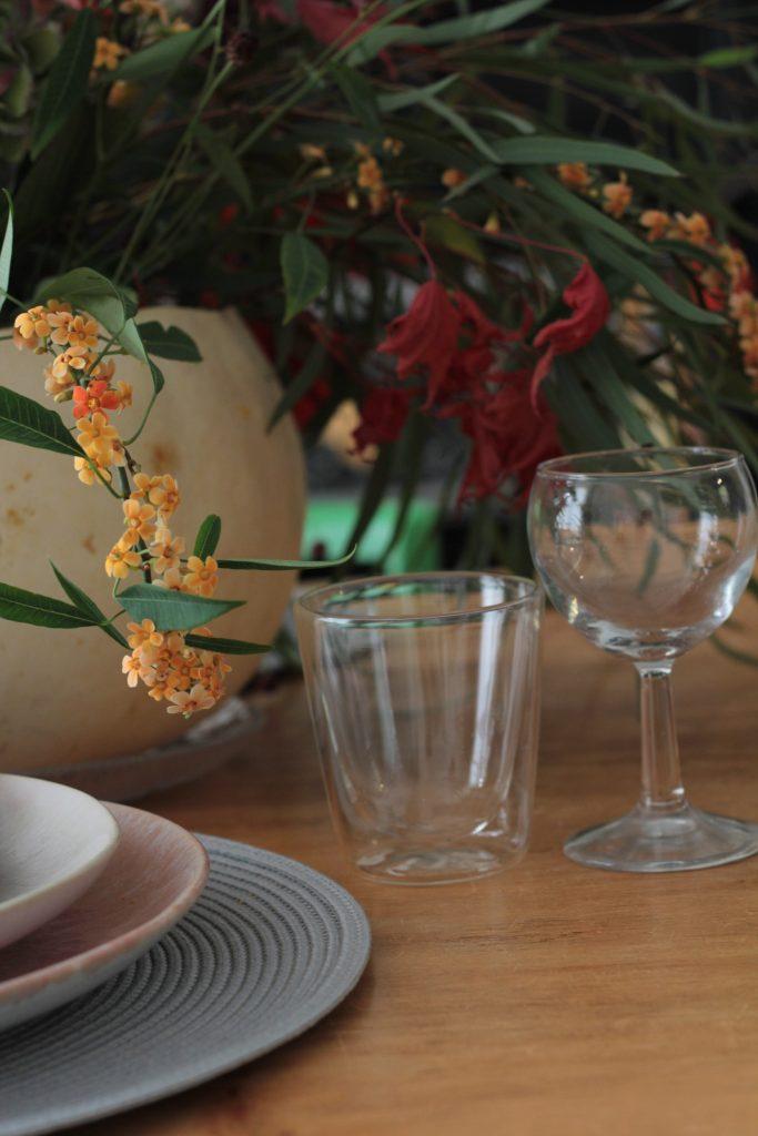 close up of pumpkin vase centrepiece