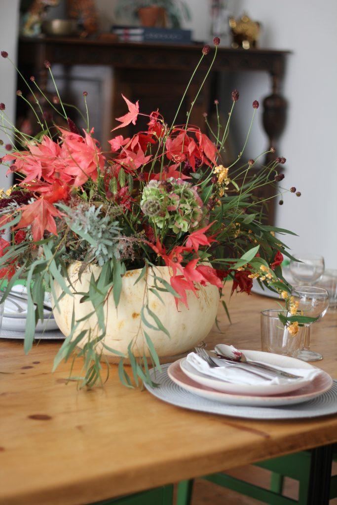view of pumpkin vase centrepiece