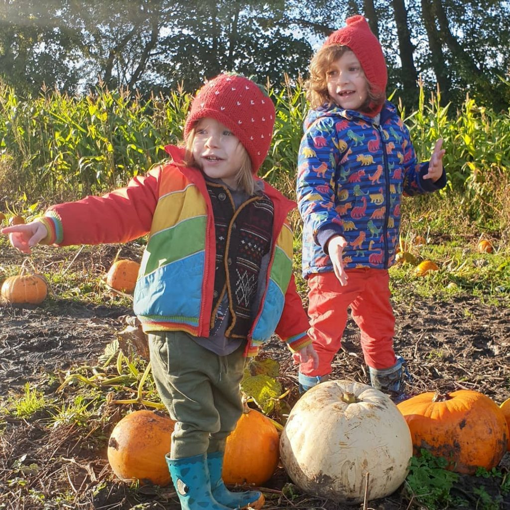 cute siblings together in a pumpkin patch